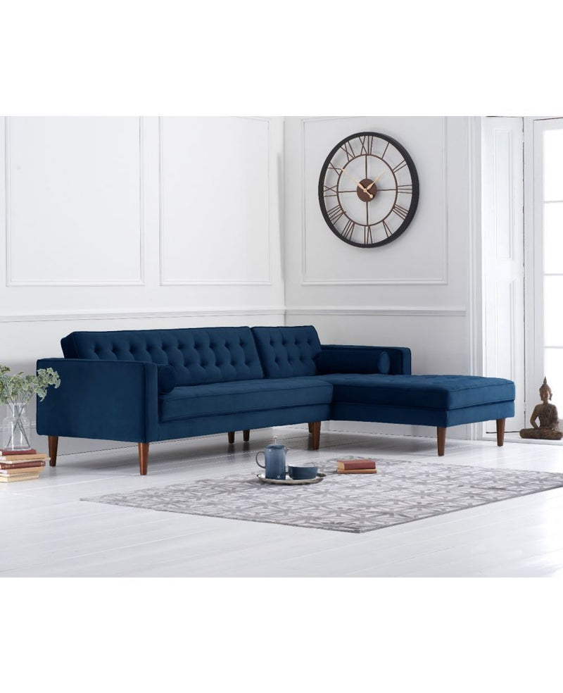 Idriana Blue Velvet Right Facing Chaise Sofa - AR Furnishings - Specialists In Bringing Luxury Into Your Home.
