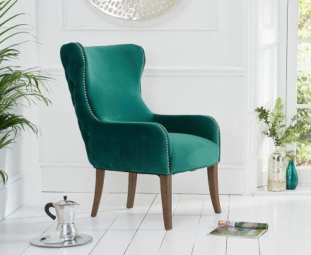 Lance Green Velvet Accent Chair