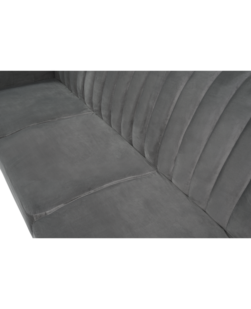 Leslie Grey Velvet Sofa Bed - AR Furnishings - Specialists In Bringing Luxury Into Your Home.