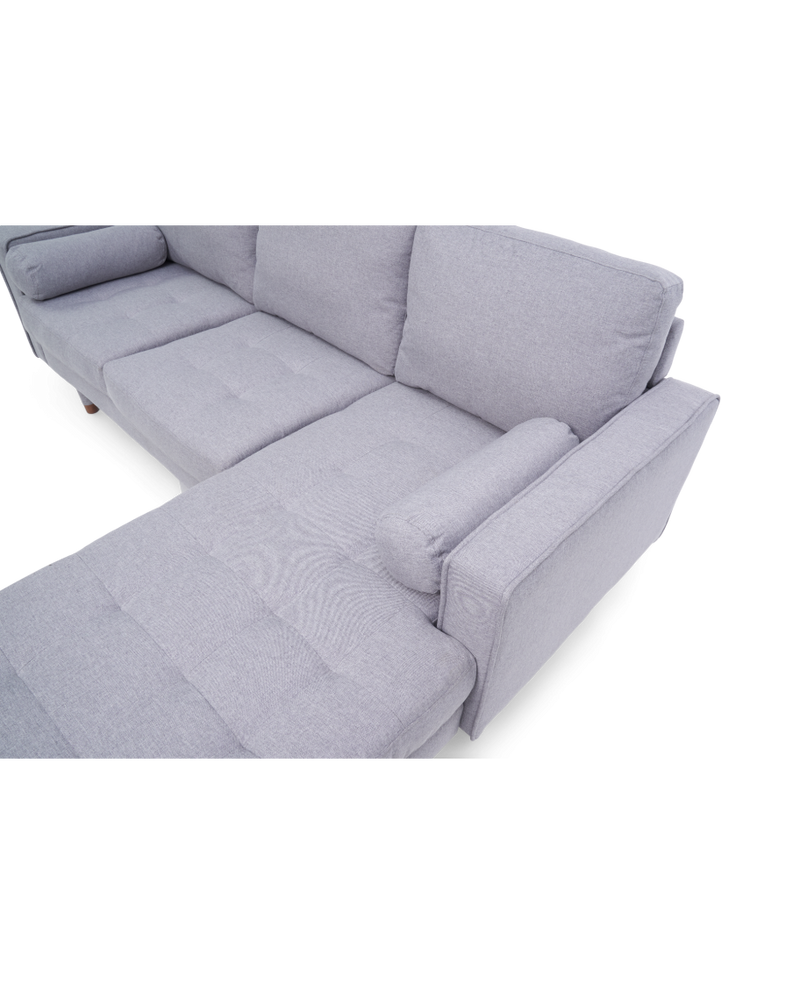 Liam Grey Linen 3 Seater Reversible Chaise Sofa - AR Furnishings - Specialists In Bringing Luxury Into Your Home.