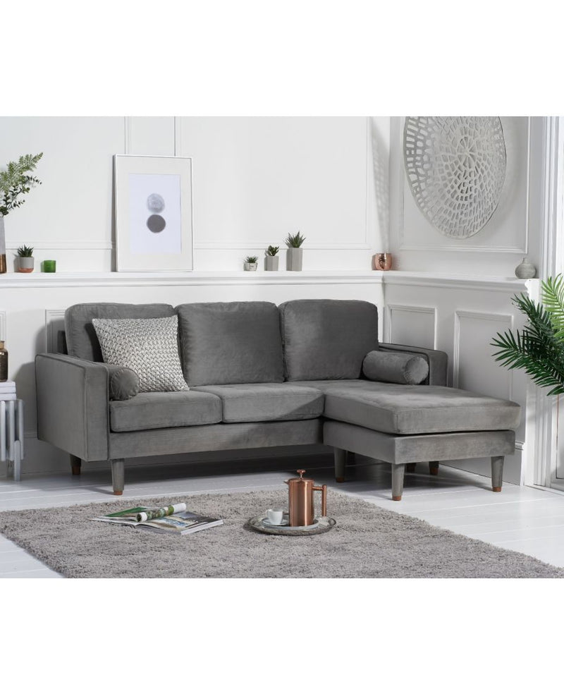 Liam Grey Velvet 3 Seater Reversible Chaise Sofa - AR Furnishings - Specialists In Bringing Luxury Into Your Home.