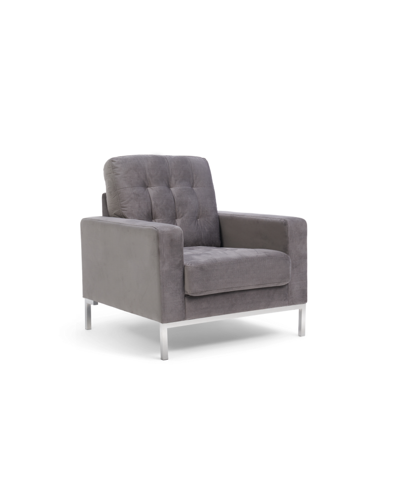 Lillian Grey Velvet Armchair - AR Furnishings - Specialists In Bringing Luxury Into Your Home.