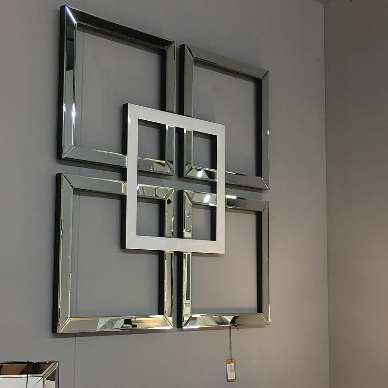 Madison White & Silver Mirrored Geo Mirror Wall Art Home Decor Picture - AR Furnishings - Specialists In Bringing Luxury Into Your Home.