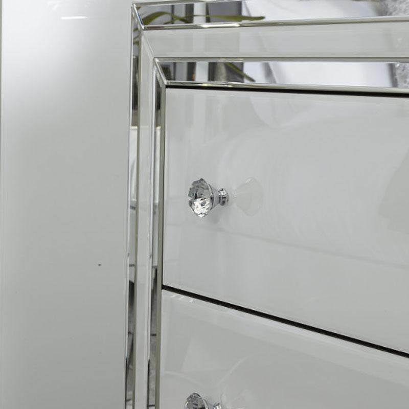 Madison White Glass 3 Drawer Mirrored Chest - AR Furnishings - Specialists In Bringing Luxury Into Your Home.
