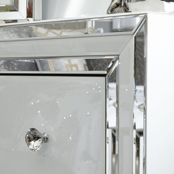 Madison White Glass 4 Drawer Mirrored Cabinet - AR Furnishings - Specialists In Bringing Luxury Into Your Home.
