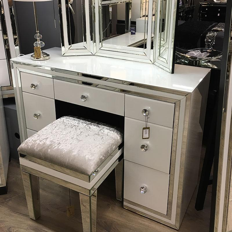 Madison White Glass 7 Drawer Mirrored Dressing Table - AR Furnishings - Specialists In Bringing Luxury Into Your Home.