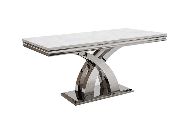 Ottavia Bone White Marble & Chrome 160cm Dining Table Only - AR Furnishings - Specialists In Bringing Luxury Into Your Home.