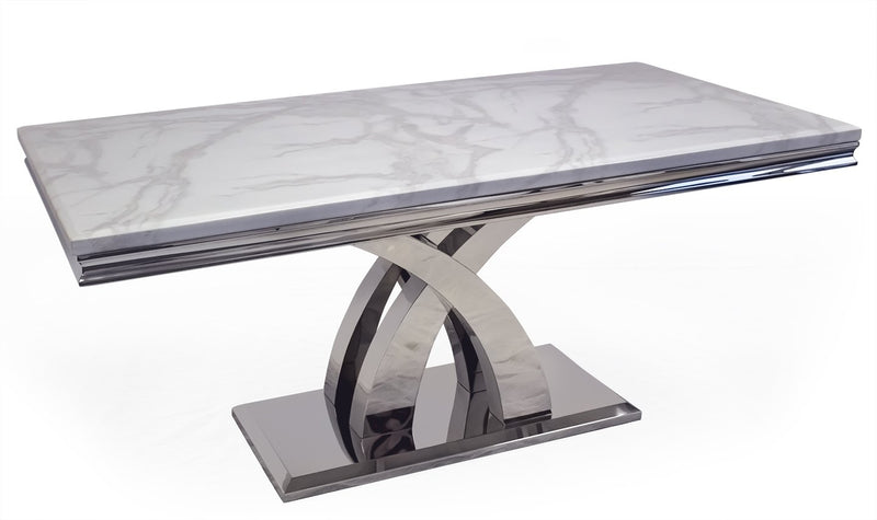 Ottavia Bone White Marble & Chrome 200cm Dining Table Only - AR Furnishings - Specialists In Bringing Luxury Into Your Home.