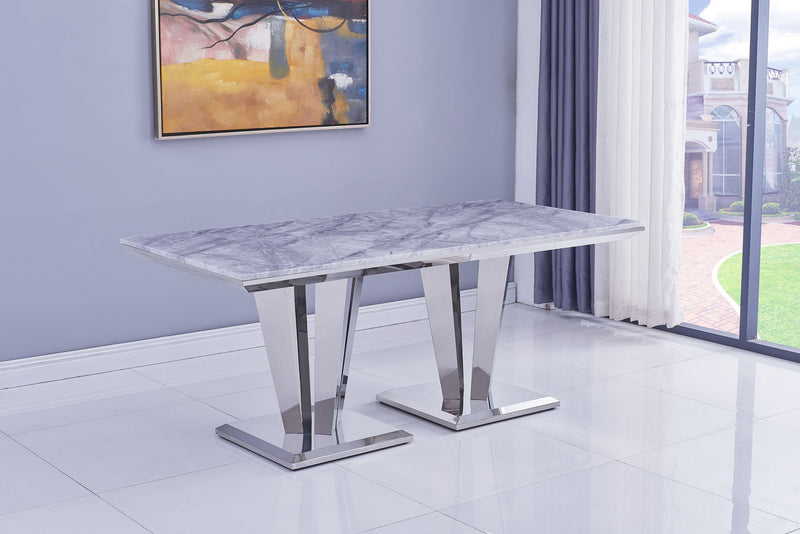 Riccardo Grey Marble 180cm Dining Table + Belgravia Grey Plush Velvet Chairs - AR Furnishings - Specialists In Bringing Luxury Into Your Home.