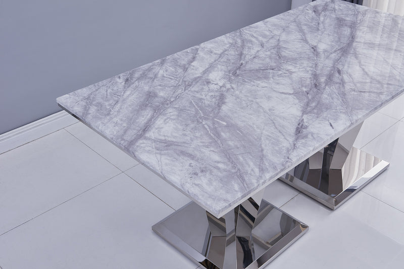 Riccardo 180cm Grey Marble & Stainless Steel Dining Table - AR Furnishings - Specialists In Bringing Luxury Into Your Home.
