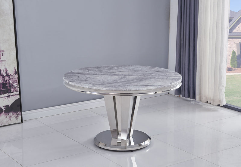 Riccardo Grey Marble Round 130cm Dining Table + Belgravia Grey Plush Velvet Chairs - AR Furnishings - Specialists In Bringing Luxury Into Your Home.