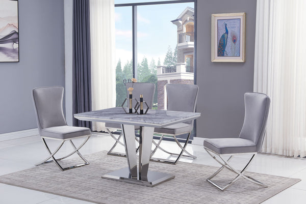Riccardo Grey Marble 120cm Dining Table + Belgravia Grey Plush Velvet Chairs - AR Furnishings - Specialists In Bringing Luxury Into Your Home.