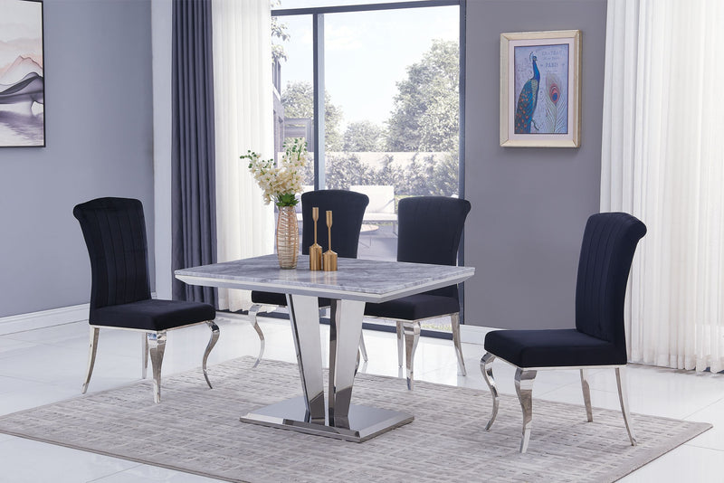 Riccardo Grey Marble 120cm Dining Table + Liarra Plush Velvet Chairs - AR Furnishings - Specialists In Bringing Luxury Into Your Home.