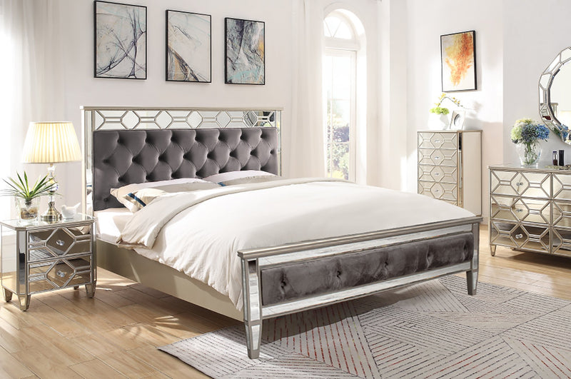 "Rosa Mirror Upholstered Bed Frame - 6'0"" Super King Size - AR Furnishings - Specialists In Bringing Luxury Into Your Home."