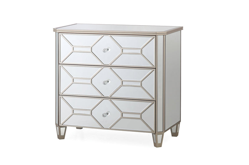 Rosa Mirror 3 Drawer Dressing Chest - AR Furnishings - Specialists In Bringing Luxury Into Your Home.
