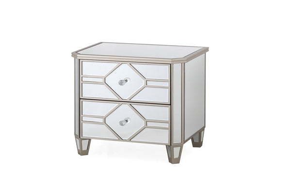 Rosa Mirror 2 Drawer Bedside Table - AR Furnishings - Specialists In Bringing Luxury Into Your Home.