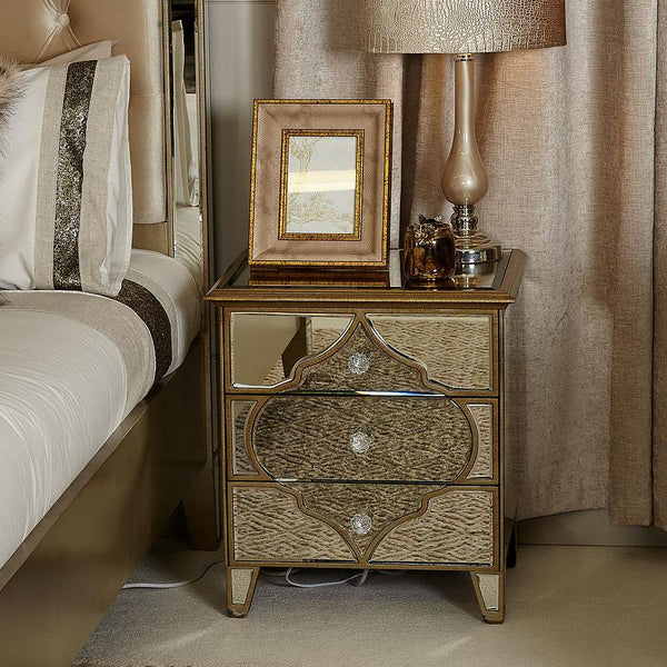 Mara Moroccan Gold Mirrored 3 Drawer Bedside Table Cabinet - AR Furnishings - Specialists In Bringing Luxury Into Your Home.