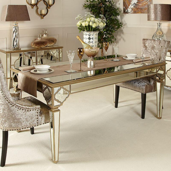 Mara Moroccan Gold 180cm Mirrored Dining Table - AR Furnishings - Specialists In Bringing Luxury Into Your Home.
