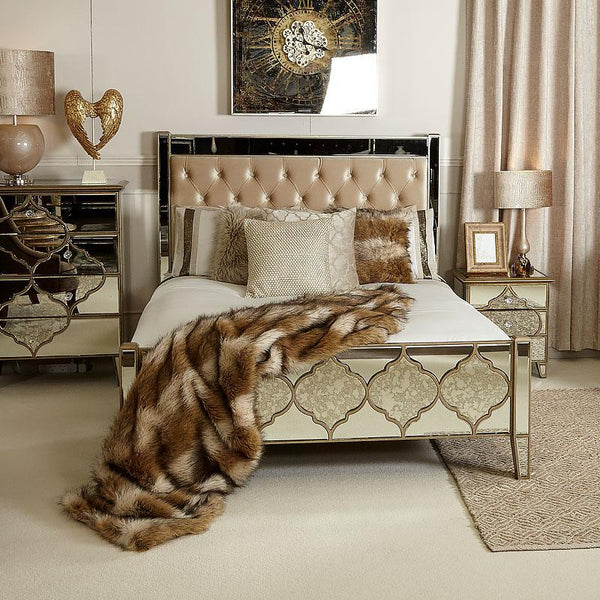 Mara Moroccan Gold Mirrored King Size Bed Frame - AR Furnishings - Specialists In Bringing Luxury Into Your Home.