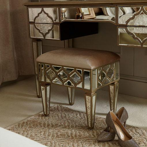 Mara Moroccan Gold Mirrored Upholstered Stool - AR Furnishings - Specialists In Bringing Luxury Into Your Home.