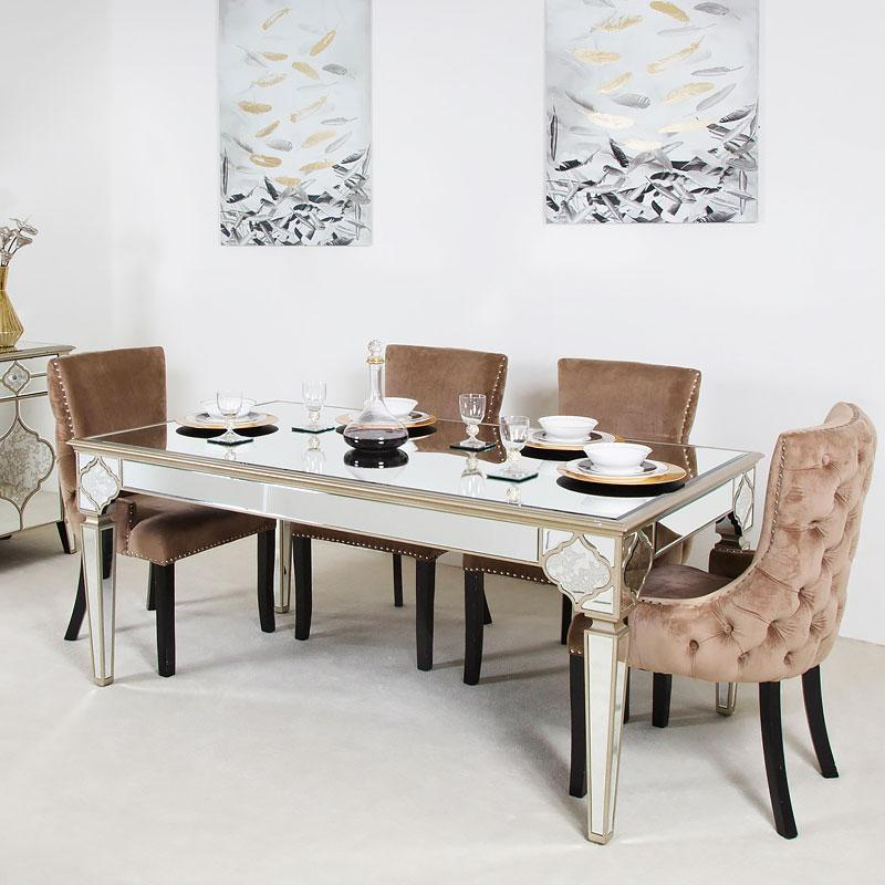 Mara Moroccan Gold 180cm Mirrored Dining Table + 4 Tufted Back Champagne Chairs - AR Furnishings - Specialists In Bringing Luxury Into Your Home.