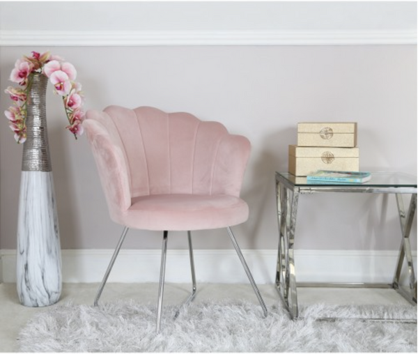 Alice Light Pink Shell Back Dining Chair - AR Furnishings - Specialists In Bringing Luxury Into Your Home.