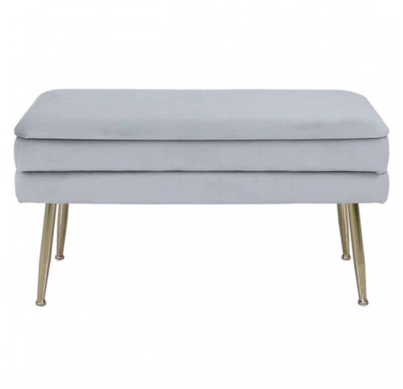 Soft Velvet Storage Ottoman - Grey - AR Furnishings - Specialists In Bringing Luxury Into Your Home.