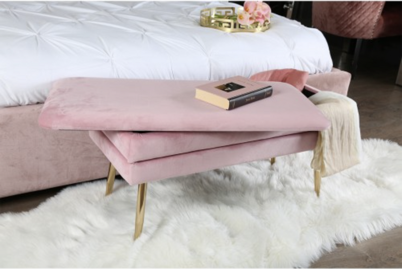 Soft Velvet Storage Ottoman - Blush Pink - AR Furnishings - Specialists In Bringing Luxury Into Your Home.
