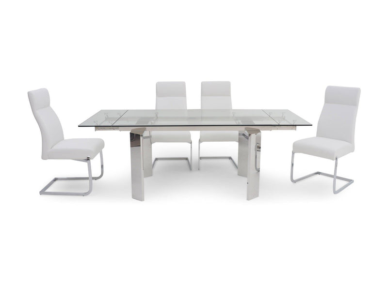 Torelli Nataliya Ext Clear Glass Dining Table + 6 Dante Chairs - AR Furnishings - Specialists In Bringing Luxury Into Your Home.