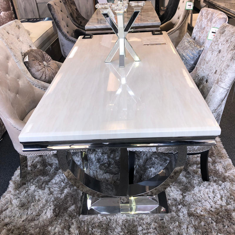 Arianna Cream Marble Dining Table & Knightsbridge Knocker Plush Velvet Chairs - AR Furnishings - Specialists In Bringing Luxury Into Your Home.