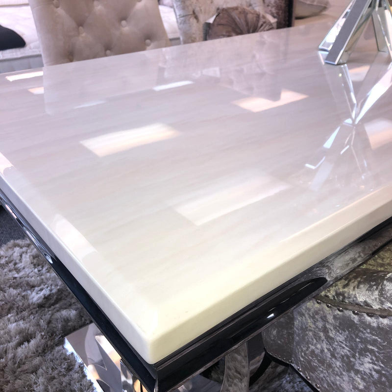 Arianna Grey or Cream Marble Dining Table - AR Furnishings - Specialists In Bringing Luxury Into Your Home.