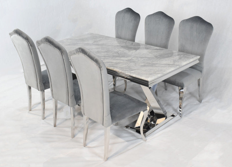 Navada Grey Marble Dining Table Lucy Chairs Ar Furnishings