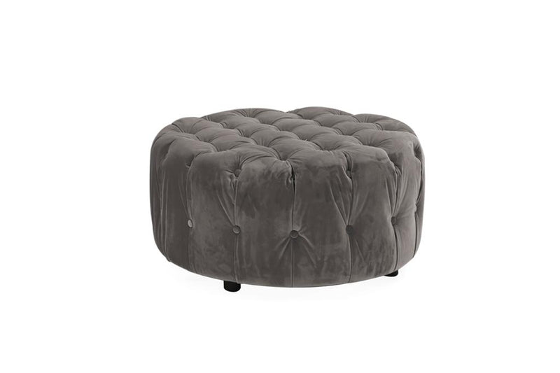 Darby Round Footstool - Grey - AR Furnishings - Specialists In Bringing Luxury Into Your Home.