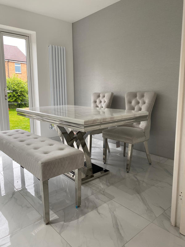 Ottavia Bone White Marble & Chrome 160cm Dining Set