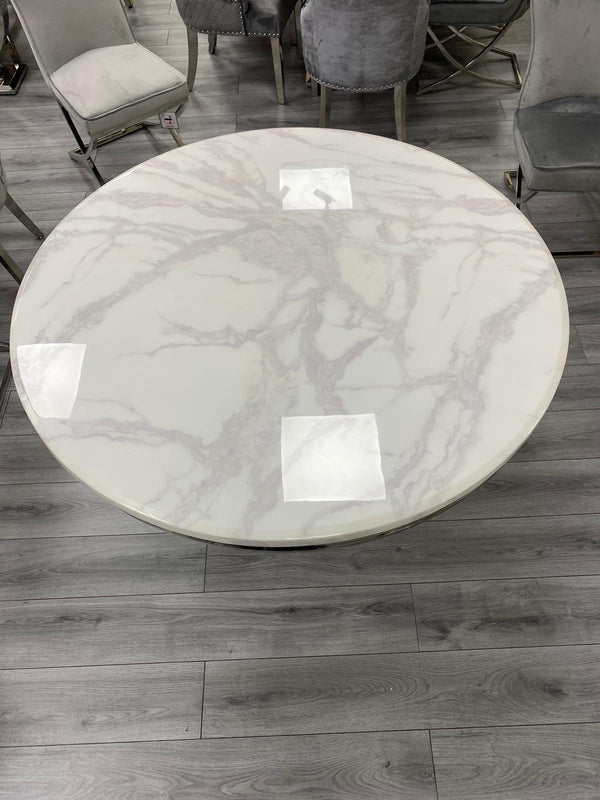 Arturo Round White Marble Dining Table
