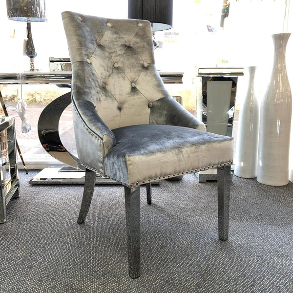 Bella Pewter Knocker Back Dining Chair - AR Furnishings - Specialists In Bringing Luxury Into Your Home.