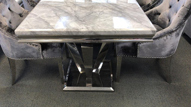 Arturo Grey Marble & Chrome 180cm Dining Table Only - AR Furnishings