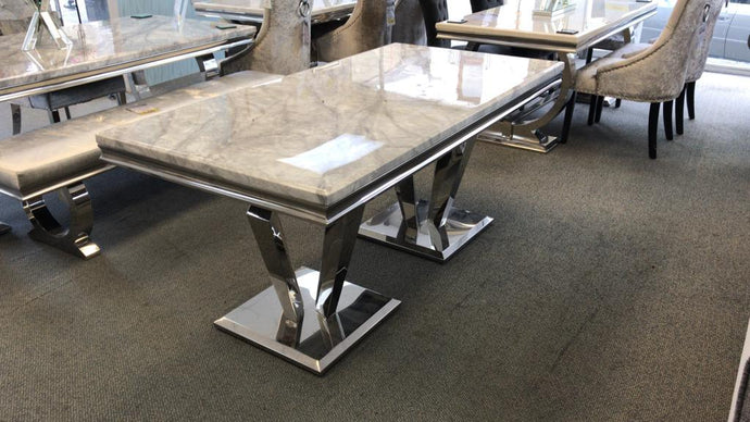 Arturo Grey Marble & Chrome 180cm Dining Table Only