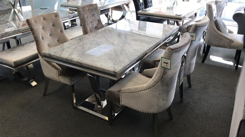Arturo Grey Marble & Chrome 180cm Dining Table Only - AR Furnishings - Specialists In Bringing Luxury Into Your Home.