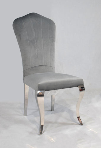 Lucy Grey Plush Velvet Chair