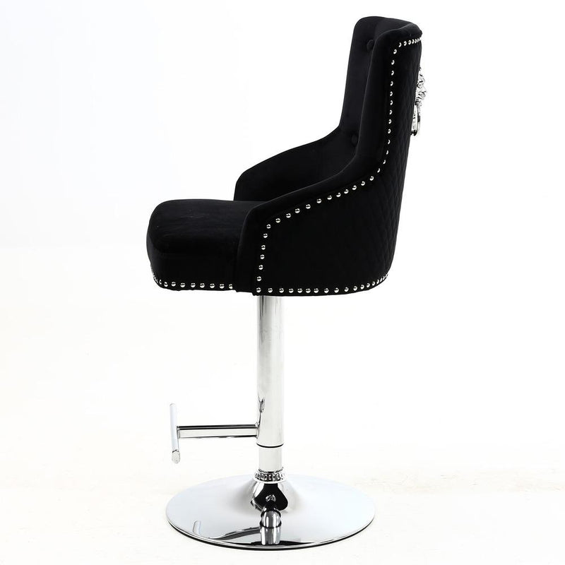 Chelsea Black Quilted Velvet Chrome Leg Lion Knockerback Bar Stool - AR Furnishings - Specialists In Bringing Luxury Into Your Home.