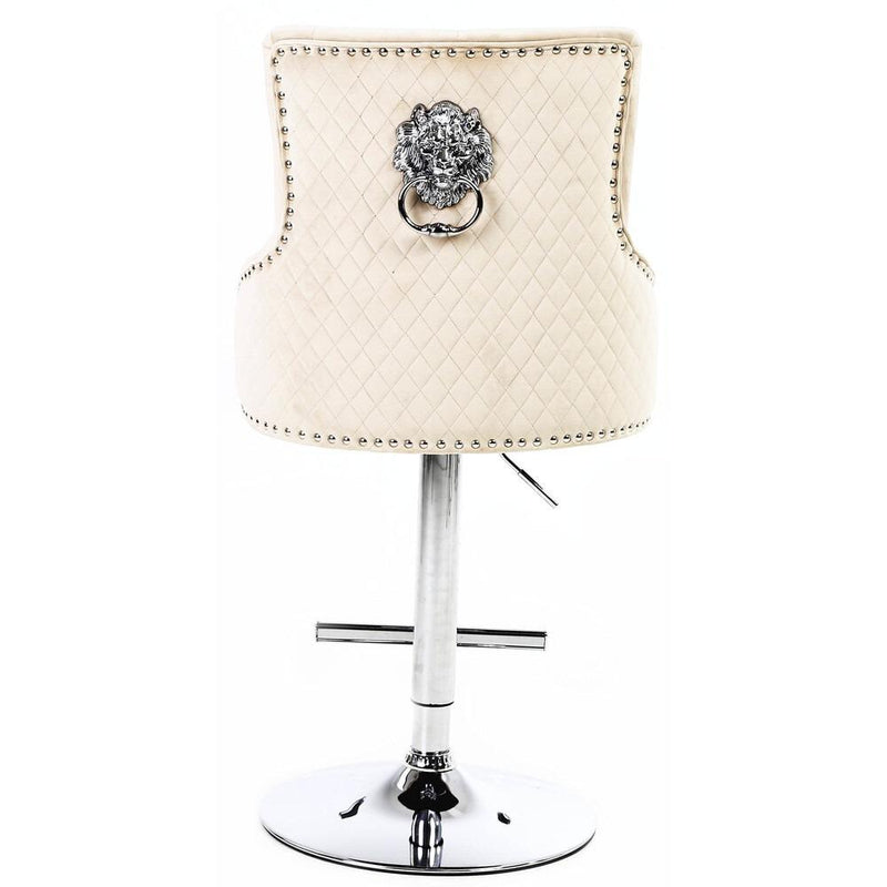 Chelsea Mink Quilted Velvet Chrome Leg Lion Knockerback Bar Stool - AR Furnishings - Specialists In Bringing Luxury Into Your Home.