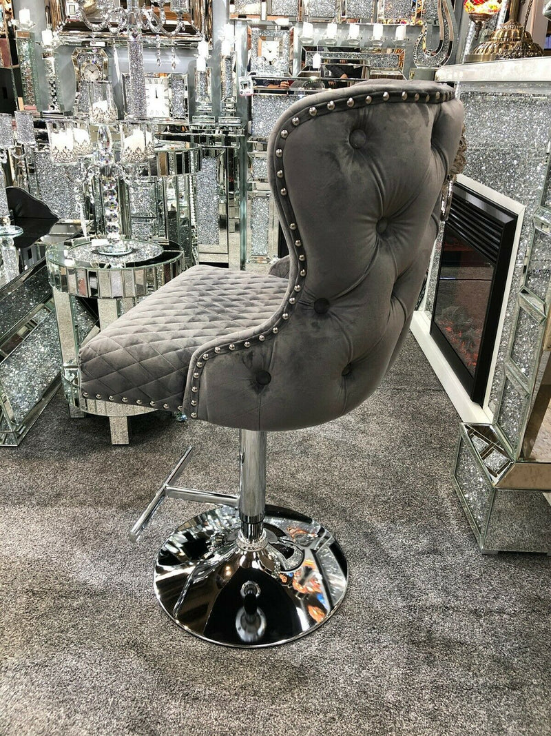 Valentino Grey Quilted French Velvet Chrome Leg Bar Stool - AR Furnishings - Specialists In Bringing Luxury Into Your Home.