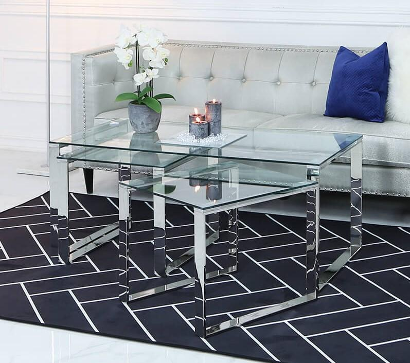 Value Nest of 3 Tables - 1 Coffee and 2 End Tables - Chrome - AR Furnishings - Specialists In Bringing Luxury Into Your Home.