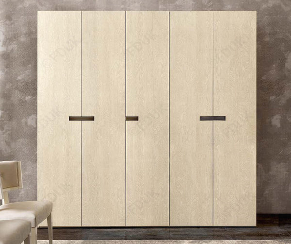 Ambra Sand Birch Finish Italian 5 Door Wardrobe - AR Furnishings - Specialists In Bringing Luxury Into Your Home.