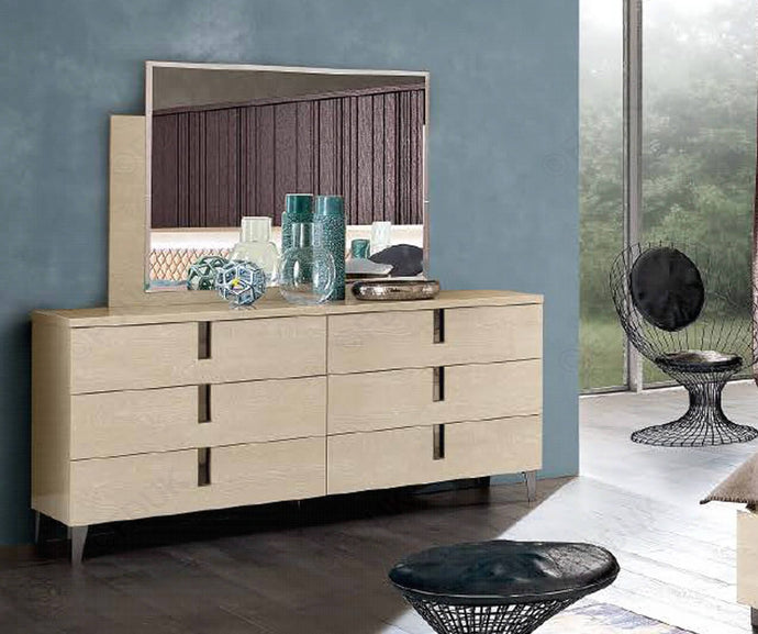 Ambra Sand Birch Finish Italian Double Dresser - ImagineX Furniture & Interiors