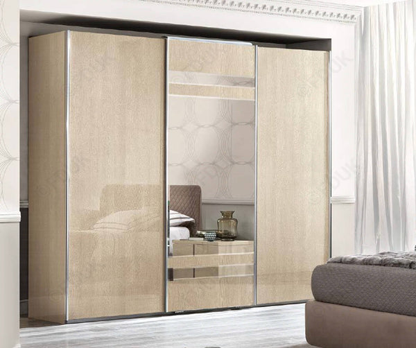 Ambra Sand Birch Finish Italian 3 Door Combi Sliding Wardrobe - AR Furnishings - Specialists In Bringing Luxury Into Your Home.