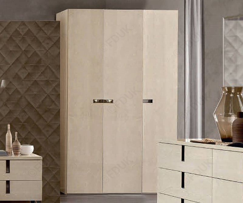 Ambra Sand Birch Finish Italian 3 Door Wardrobe - AR Furnishings - Specialists In Bringing Luxury Into Your Home.