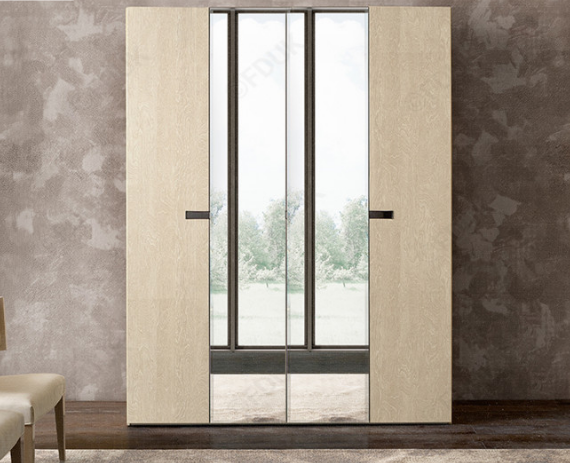 Ambra Sand Birch Finish Italian 4 Door Mirror Wardrobe - AR Furnishings - Specialists In Bringing Luxury Into Your Home.