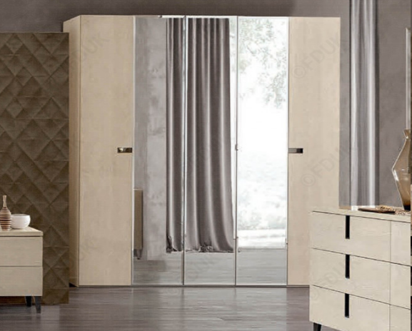 Ambra Sand Birch Finish Italian 5 Door Mirror Wardrobe - AR Furnishings - Specialists In Bringing Luxury Into Your Home.
